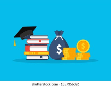 Investment in education. Scholarship. Books, graduation hat and stack of coins. Vector