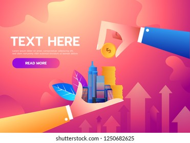 Investment and finance growth business concept. Hand putting coin to city. Vector flat illustration. Growing business in skyscrapers city background.