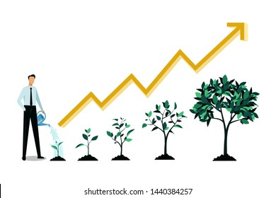 Investment and finance growth business concept. Businessman watering small green sprout. Vector flat illustration. Five stages of growing tree and increase arrow chart, infographic design template.