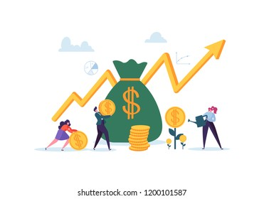 Investment Financial Concept. Business People Increasing Capital and Profits. Wealth and Savings with Characters. Earnings Money. Vector illustration