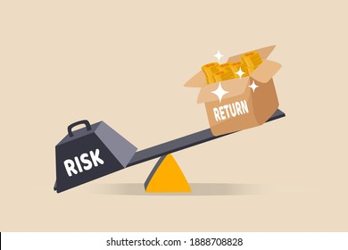 Investment high risk high expected return, investor risk appetite in securities and investment asset to get high reward concept, balance with heavy risk burden make box of rich money dollar reward.