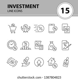 Investment icon set. Line icons collection on white background. Credit, loan, percent. Selling concept. Can be used for topics like money, finances, economy