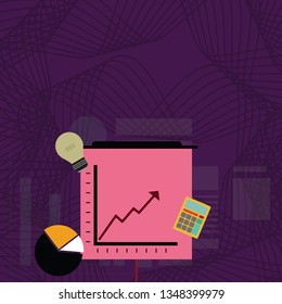 Investment Icons of Pie and Line Chart with Arrow Pointing Going Upward, Calculator and Bulb. Creative Background Idea for Business Opportunity, Financial Presentation and Report.