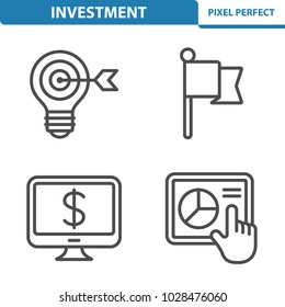 Investment Icons. Professional, pixel perfect icons optimized for both large and small resolutions. EPS 8 format. 5x size for preview.