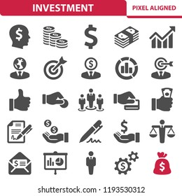Investment Icons. Professional, pixel perfect icons, EPS 10 format.