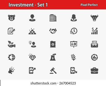 Investment Icons. Professional, pixel perfect icons optimized for both large and small resolutions. EPS 8 format.