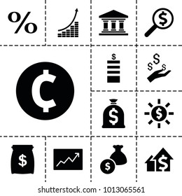 Investment icons. set of 13 editable filled investment icons such as coin, money bag, line graph, money sack, coin, dolar growth, dollar search, bank, dollar in sun