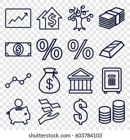 Investment icons set. set of 16 investment outline icons such as Money sack, money on hand, safe, line graph, coin, dollar, bank, percent, piggy bank, dolar growth