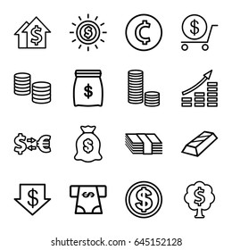 Investment icons set. set of 16 investment outline icons such as dollar down, dollar, atm money withdraw, money sack, coin, dolar growth