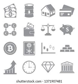 Investment Icons. Set 2. Gray Flat Design. Vector Illustration.