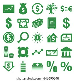 Investment icons set. set of 25 investment filled icons such as coin, dollar down, atm money withdraw, safe, bank, line graph, money sack, dollar in sun, percent, dolar growth