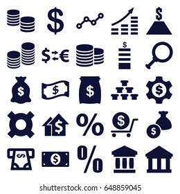 Investment icons set. set of 25 investment filled icons such as coin, dollar, atm money withdraw, money sack, line graph, coin, percent, crown, bank, dolar growth