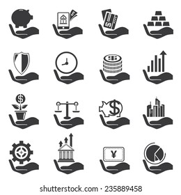 investment icons set, hand holding money objects