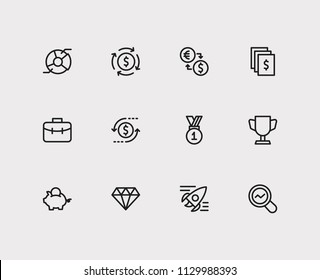 Investment icons set. Return on investment and investment icons with jewelry, analytics and assets. Set of reward for web app logo UI design.