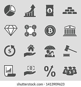 Investment Icons. Sticker Design. Vector Illustration.
