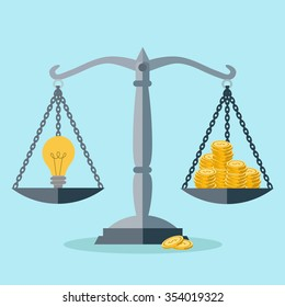 Investment in an idea, money balance vector concept