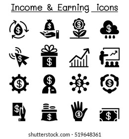 Investment, Income & earning icon set