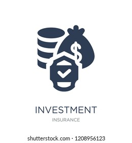 Investment insurance icon. Trendy flat vector Investment insurance icon on white background from Insurance collection, vector illustration can be use for web and mobile, eps10