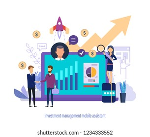 Investment management mobile assistant. Virtual business sales and investment assistant to improve financial performance. Mobile banking, support services for accounts, positions. Vector illustration.
