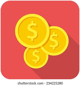 Investment, modern flat icon with long shadow