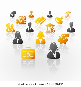 Investment money business network abstract illustration