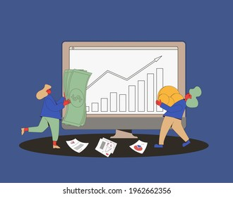 Investment online concept. Minor shareholders getting money. Stock market  boom. Growth in equity prices. Tiny people with huge coins, paper money graph, advisors reports. Vector flat illustration.