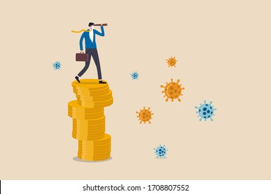 Opportunité d'investissement en bourse, pour survivre et gagner dans le concept de crise économique de Coronavirus COVID-19 foyer, chef d'entreprise debout sur des pièces de monnaie en utilisant un télescope pour projeter l'avenir