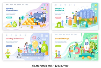 Investment in physical assets, innovations set vector. Real estate investition, people with gold and briefcases filled with money, startup financement