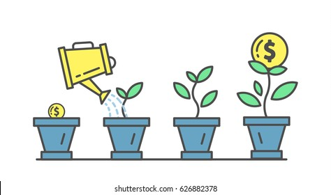 Investment plant and growth. Planting and growing money in pot.