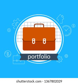 Investment portfolio, banking services, financial strategy concept, fund management, briefcase vector flat design icon