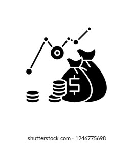 Investment profit black icon, vector sign on isolated background. Investment profit concept symbol, illustration