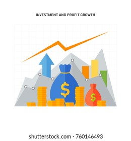 Investment and profit growth concept. Flat design. Vector illustration.