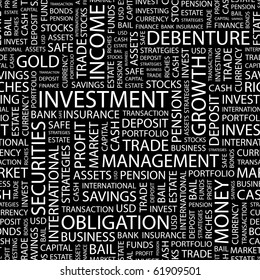 INVESTMENT. Seamless vector pattern with word cloud. Illustration with different association terms.