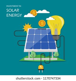 Investment in solar energy concept vector illustration. Solar panel with dollar coin and light bulb connected to it. Flat style design element for website template, poster, banner etc.