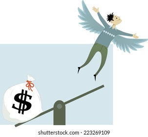 Investment in a start-up. Young man with wings is catapulted from a teeter-board by a big money bag, metaphor for an angel founding, vector illustration, no transparencies