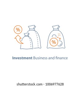 Investment strategy, income growth, fund management, long term investing, loan concept, pension savings, superannuation vector illustration, line icon