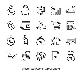 investment trade lending icons set; black line icons on white background.