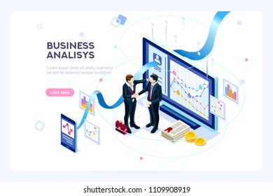 Investment and virtual finance. Communication and contemporary marketing. Future and office devices working on investments. Infographic for web banner, hero images. Flat isometric vector illustration.