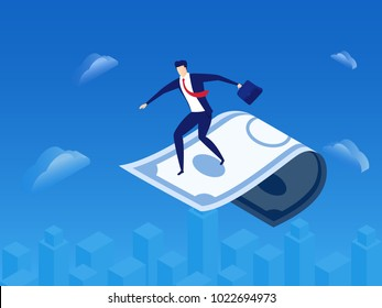 Investment and vision concept. Businessman flying carpet made of money looking for investment, success, opportunities, future business trends. Cartoon Vector Illustration.