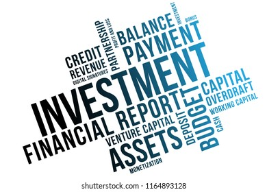 Investment word cloud collage, business concept background. Venture capital.