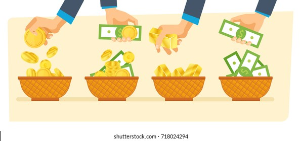 Investments, financial success and balance, money growth and turnover, guarantee of security financial savings. Business diversification. Hands hold money bills and gold coins. Vector illustration.