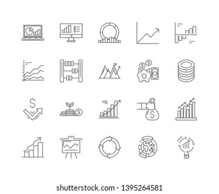 Investments line icons, signs, vector set, outline illustration concept