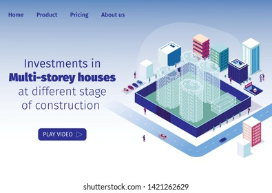 Investments in Multi-storey Houses at Different Stage of Construction. Video Presentation Construction Residential Area. Layout with High-rise Buildings. Fenced Construction Site at Digging Stage.