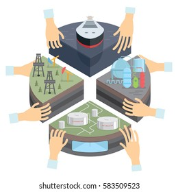 Investments in the oil sectors of the economy. Production, distribution, refining, and retailing of petroleum. Investors support Petroleum industry. Vector illustration