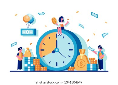 Investments. Times is money concept in flat vector style. Piggybank. Financial investments in stock market. Time planning, Business deadline. Save time. Money saving. Management. Success. Enrichment