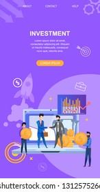 Investments Vertical Banner Flat Vector Illustration. Background Flying Rocket. On Laptop Screen Chart with Increasing Profits. People make Lucrative Contract. Men in Blue Shirt Holding Dollar