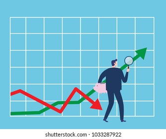 Investor. Businessman looking for investment opportunity standing on growth graph. Profit Stock Market. Business concept.  Vector flat cartoon illustration flat design.
