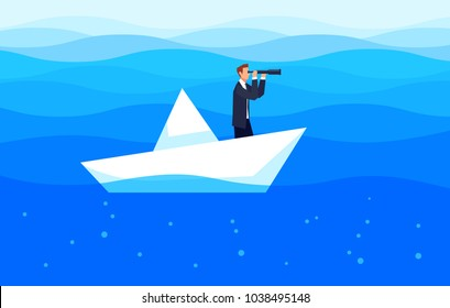 Investor. Businessman with a telescope floating in the sea on a paper boat. Template design banner. Investments and search for business ideas. Vector illustration.