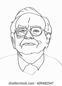 Investor and economist Warren Buffett forecasts stocks maket changes will continue to rise. Warren Buffett line portrait on light gray background, vector illustration