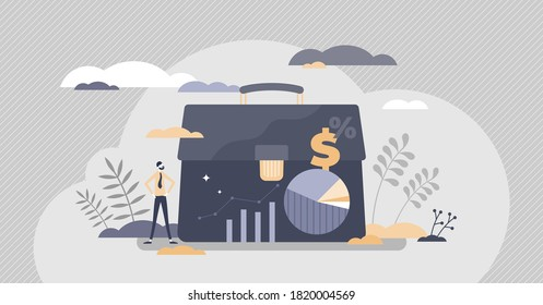 Investor portfolio as financial work history presentation tiny persons concept. Business document gallery with money investments and success rate vector illustration. Information collection folder.